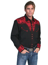 Men's Western Shirt Long Sleeve Rockabilly Country Cowboy Black Red Floral - $87.38