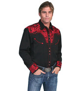 Men's Western Shirt Long Sleeve Rockabilly Country Cowboy Black Red Floral - $87.79
