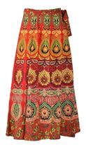 Wrap Around Free Size Boho Hippie Long Maxi Cotton Mandala Skirt Diwali Red - $32.71