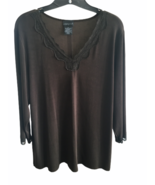 Citiknits 3/4 Sleeve Lace Trim V-neck Top Brown Size 1X Plus Clothing Shirt - $24.99