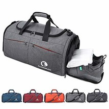 Canway Sports Gym Bag, Travel Duffel bag with Wet Pocket & Shoes (gray) - $47.48