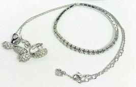 Swarovski Set - Necklace + Bracelet + Vintage Clip Earrings Clear Crystals - $99.98