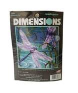 "Dimensions Dragonfly Pair Mini Needlepoint Kit 5""x 5"" Thread & Ribbon St... - $9.49"