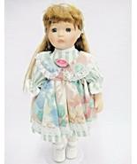 "Anco Porcelain Doll 12"" Long Wavy Brown Hair Mint Green Striped Dress Pi... - $14.84"