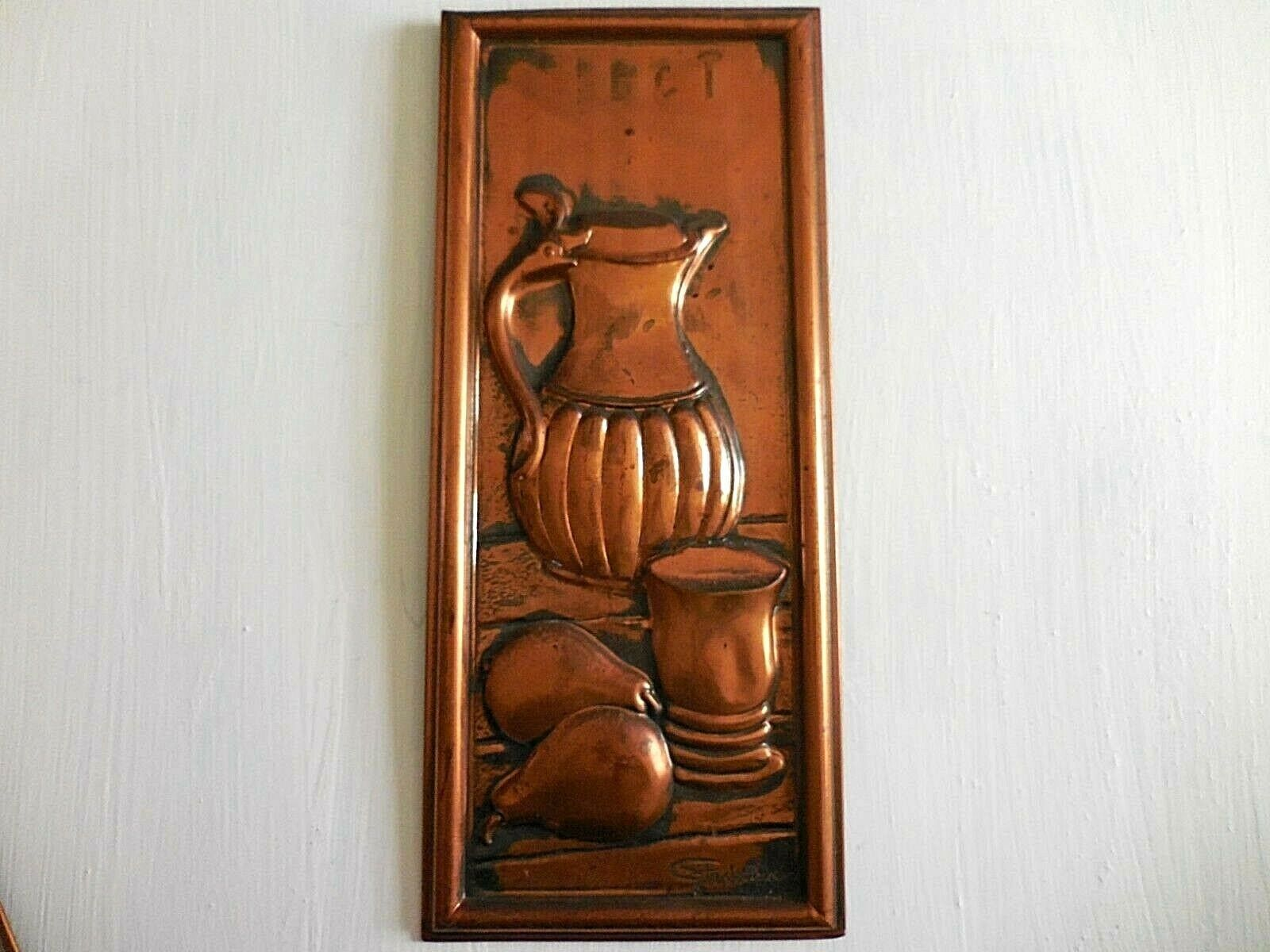 Set of Vintage Copper Wall Hanging Kitchen Art Made in Holland Signed
