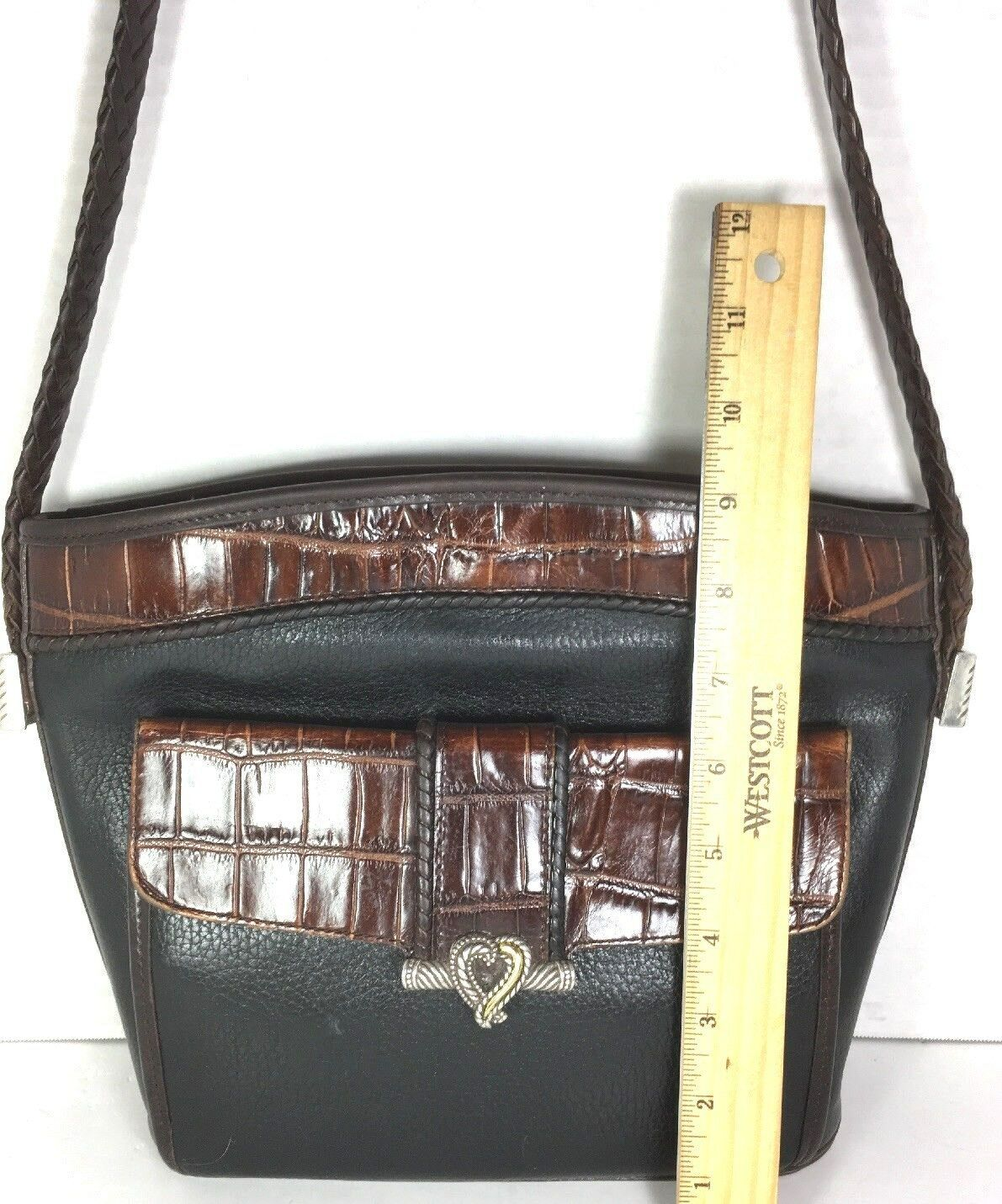 Brighton Vtg Black Leather Brown Reptile Print Trim Shoulder Bag Front Wallet
