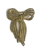 "Vintage Signed Goldtone Ribbon Bow Shaped Brooch Pin Costume Jewelry 2-1/2"" - $12.11"