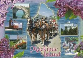 Postcard Mackinac Island Michigan Horses Buildings Beach Unused - $5.93