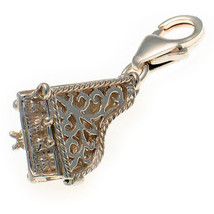 Grand Piano Filligree Sterling 925 Silver Lobster Clip Charm by Welded Bliss - $22.53