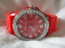 Geneva Red & Silver Toned Wristwatch w/ Adjustable Buckle Band - $29.00