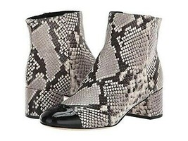 TORY BURCH SHELBY BLACK WHITE LEATHER SNAKE PRINT ANKLE BOOT 6.5 M LN WO... - €186,77 EUR
