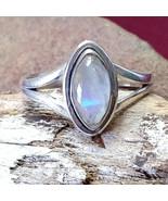 Rainbow Moonstone Silver handmade gemstone ring size 8 #005 - $30.00