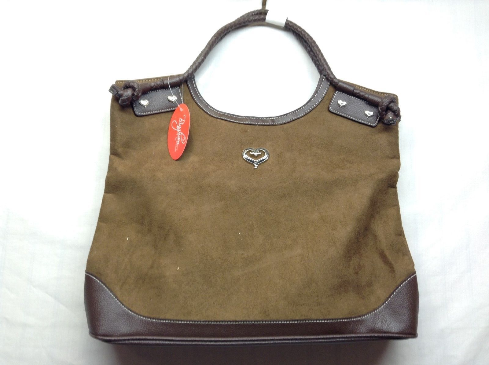 NEW Bingham Brown Suede Handbag w Hearts