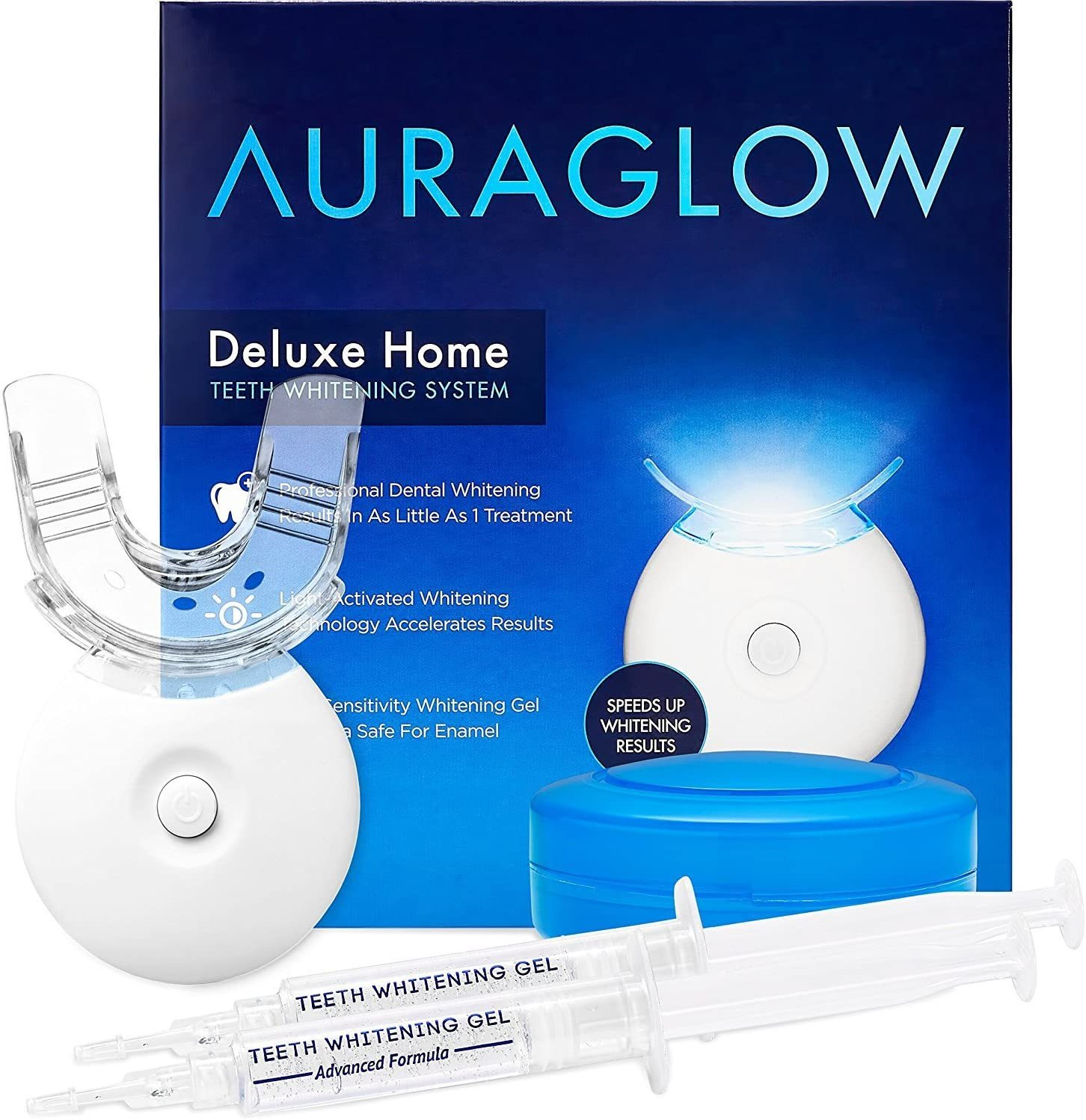 Primary image for AuraGlow Teeth Whitening Kit, LED Light, 35% Carbamide Peroxide, (2) 5ml Gel Syr