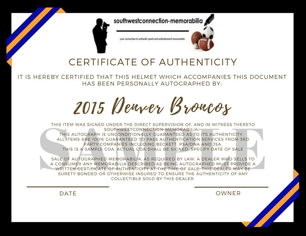 c77402aa683 Super Bowl 50 Champ Denver Broncos Team Signed Autographed Football Helmet  Proof