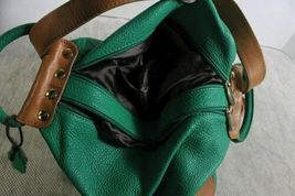 Gorgeous Valentina Green & Brown Leather Backpack Bag Purse Made Italy image 4