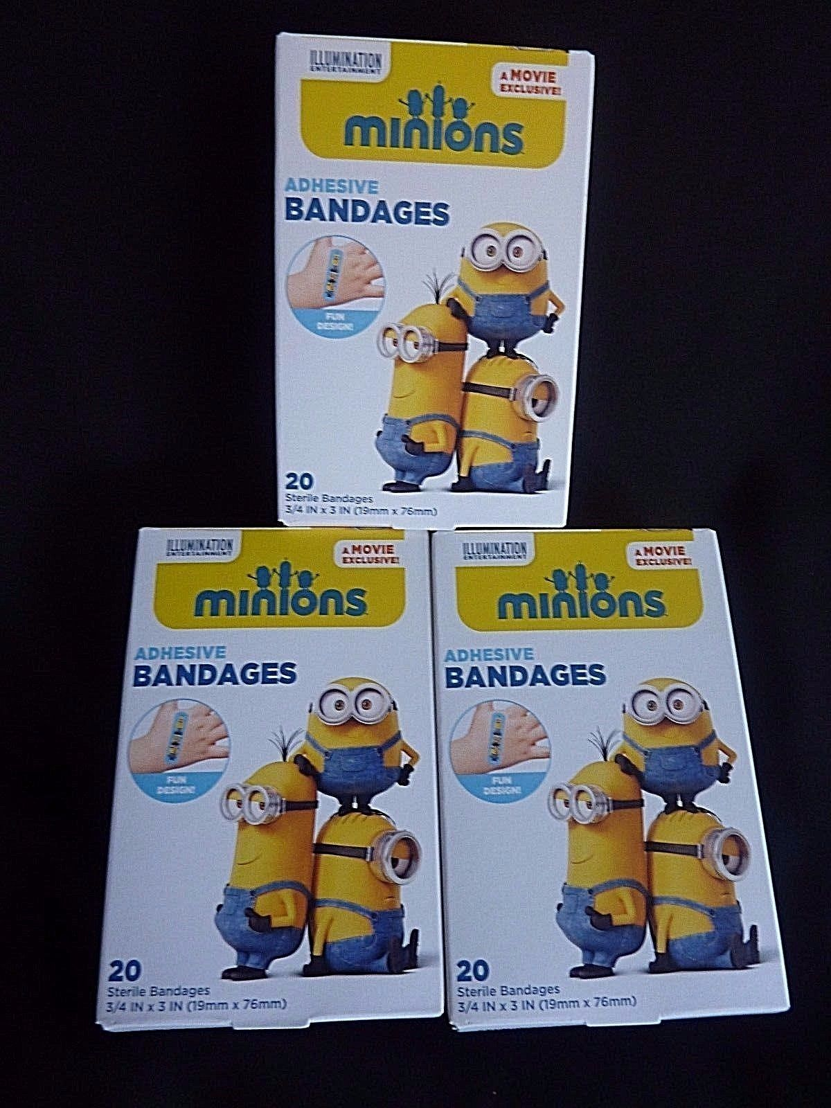Primary image for 3 Boxes MINIONS Movie Exclusive Adhesive Sterile BANDAGES  20-pack Despicable Me