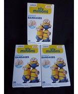 3 Boxes MINIONS Movie Exclusive Adhesive Sterile BANDAGES  20-pack Despi... - $9.75
