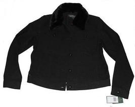 Ralph Lauren Sparkle Shimmer Black Denim Trucker Jacket Fur Collar W-L MSRP $179 - $82.99
