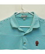 Peter Millar Men's Golf Polo Teal Blue White Striped Large - $29.67