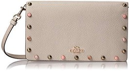 COACH Foldover Leather Crossbody purse with Rivets in Gd-Chalk, Style #66613