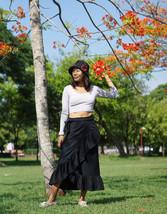 Linen Wrap Skirt, Black Linen Skirt, Ruffle Skirt, Maxi Skirt, Boho Skirt - $69.00