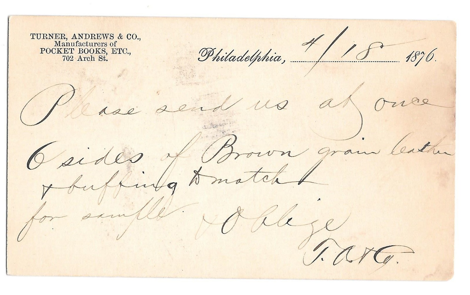 UX5 Phila PA 1876 Fancy Cork Cancel Turner Andrew Pocket Books Henry Lang Newark image 2
