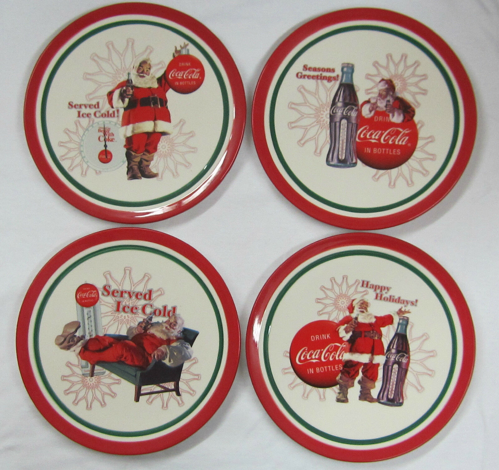 Primary image for Coca-Cola Christmas Plates Set of 4 - New
