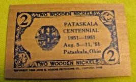 1951 Pataskala Ohio Centennial Celebration 2 Wooden Nickels Placard - $9.50