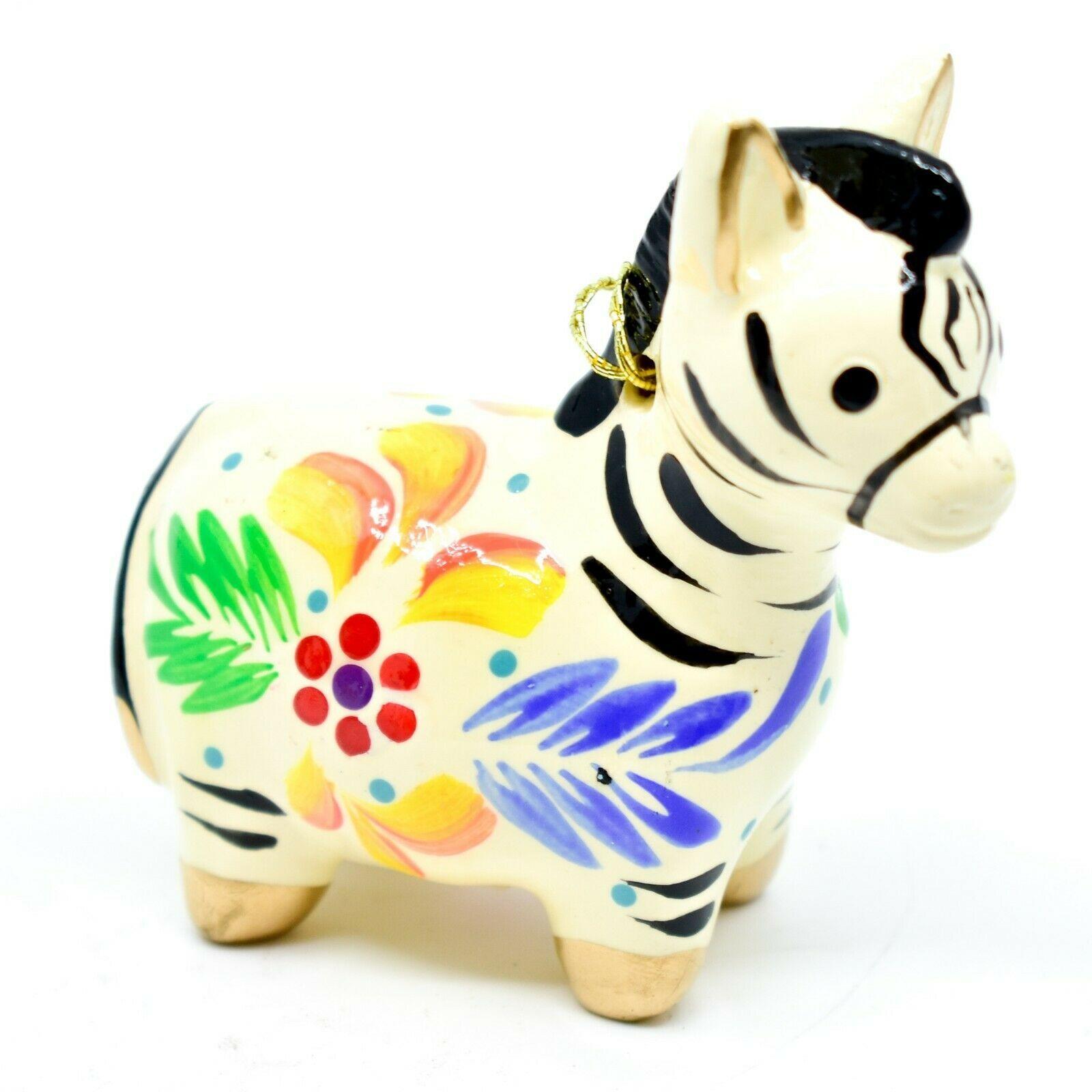 Handcrafted Painted Ceramic White Zebra Confetti Ornament Made in Peru