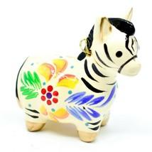 Handcrafted Painted Ceramic White Zebra Confetti Ornament Made in Peru image 1