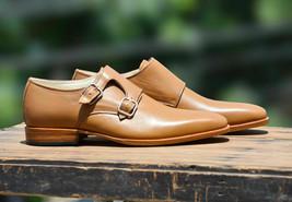 Handmade Men's Tan Leather Double Monk Strap Strap Dress/Formal Shoes image 2