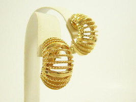 Monet Gold Plate Wide Hoop Clip Earrings Shiny n Brushed Twist Vintage E... - $19.75