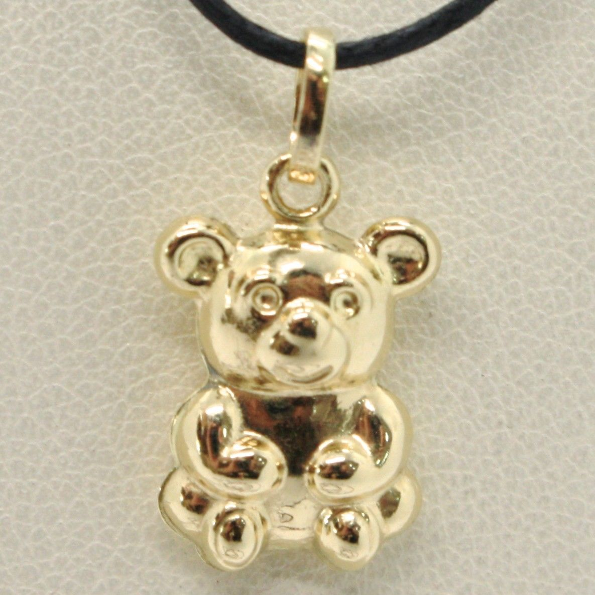 18K YELLOW GOLD ROUNDED BEAR TEDDY BEAR PENDANT CHARM 20 MM SMOOTH MADE IN ITALY