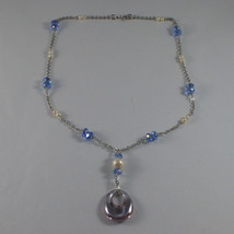 .925 SILVER RHODIUM NECKLACE WITH BLUE CRYSTALS, WHITE PEARLS AND DROP OF ZIRCON image 2
