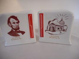 Vintage art deco white red ceramic Salt & Pepper Set Lincoln Gettysburg ... - £22.65 GBP
