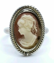 Vintage Gold Tone Carved Cameo Shell Portrait Inlay Adjustable Cocktail ... - $14.84