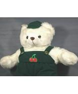 """Vintage White Teddy Bear Plush Elite Toys RARE 20"""" Green Corduroy Overalls  - $56.05"""