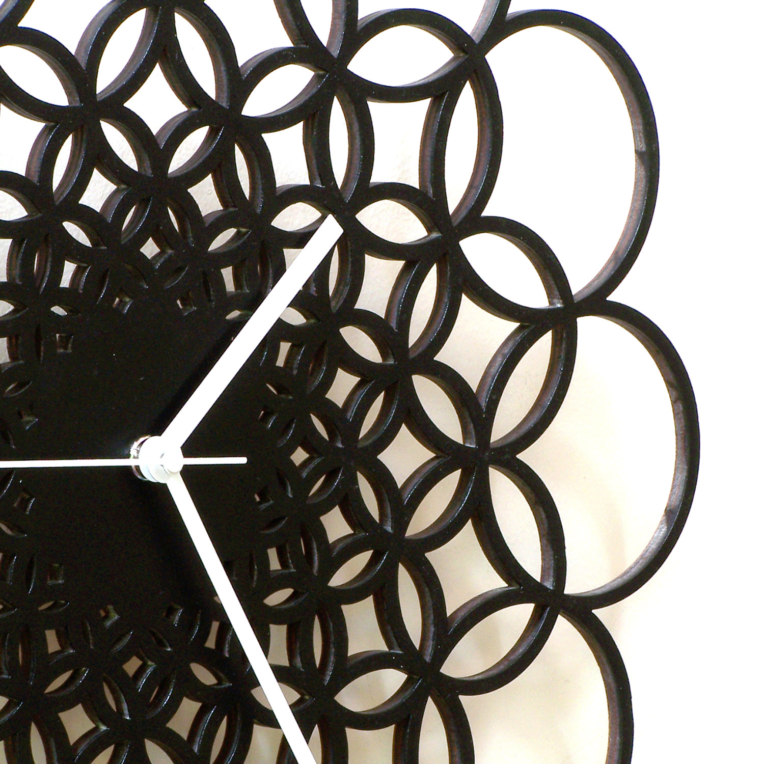 Large size unique contemporary wooden wall clock - Rings L