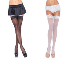 Leg Avenue 1011Q Women's PLUS SIZE Sheer Thigh High Stockings With Lace Top - $149,01 MXN