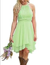 Light Green Chiffon Ruffle Short Bridesmaid Dress Strapless Prom Party Gown - $62.44