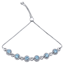 Sterling Silver 3.75 CTW Swiss Blue Topaz & CZ Bolo Bracelet - $134.99