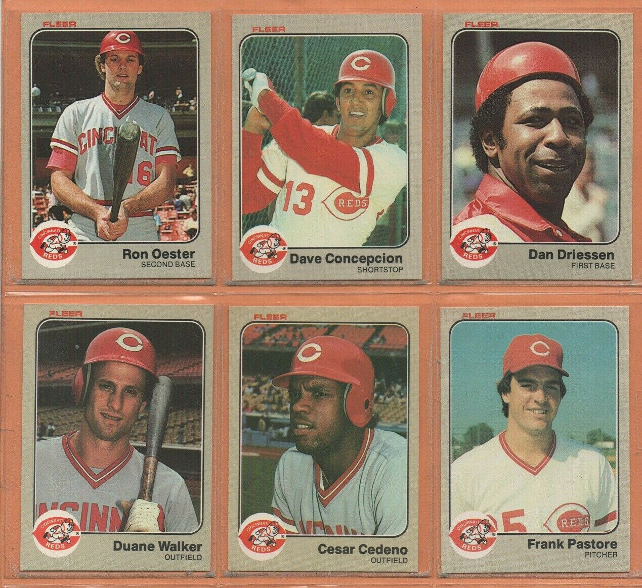 Primary image for 1983 1984 Fleer Cincinnati Reds Team Lot 32 Dave Concepcion Ron Oester Driessen