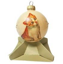"Vintage Round Glass Ornament Kitten 3"" Kurt S Adler Hand Decorated - $17.42"