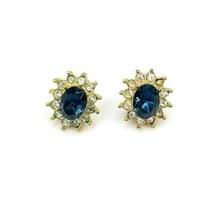 Beautiful Goldtone Rhinestone Clear Border Blue Center Pierced Ear Earrings - $12.60
