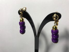 Purple Clip-On Earrings Acrylic 3 Bead Gold Plated Clip-on Jewelry - $8.00