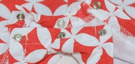 MudPie Monkey Shortall Red White Flower Geometrical Design Size 0 to 6 Months image 5