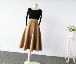 Women SUEDE Circle Skirt Autumn Winter SUEDE Midi Party Skirt, Camel Black Green image 3