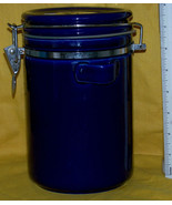 Ceramic Canister, jar, half gallon, wire locking buckel top, w/ loop for... - $14.25