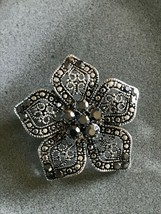 Estate Lacey w Faux Marcasite Silvertone Flower Brooch Pin – 1.75 inches... - $13.09